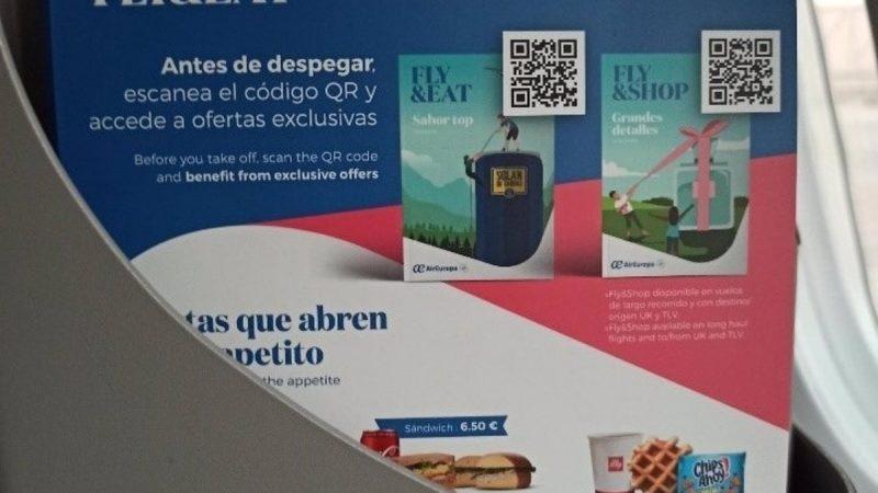 Air Europa agrega catálogo de comida con tecnología antimicrobiana